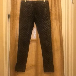 Quilted Black (Fake) Leather Pants